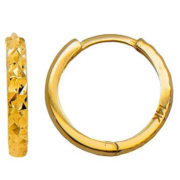 14k Yellow Gold Diamond-Cut Reversible Small Square-Tube Huggie Hoop Earrings, All Sizes