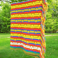 "Vintage crochet afghan blanket throw in colorful striped diamond pattern - Yellow red purplish-blue white mustard 58"" x 43"""