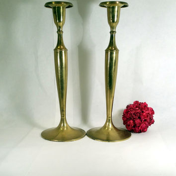 "Tall Brass Candlesticks 16"" Vintage Brass Candle Holders Art Deco Candle Sticks Vintage Wedding Decor"