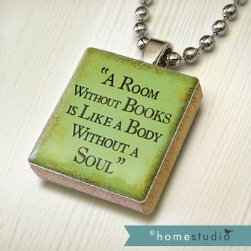 Book Soul : pendant jewelry from a Scrabble tile. Necklace Scrabble piece. Home Studio jewelry gift present.