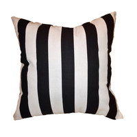 Black and White Striped Pillow - Stuffed