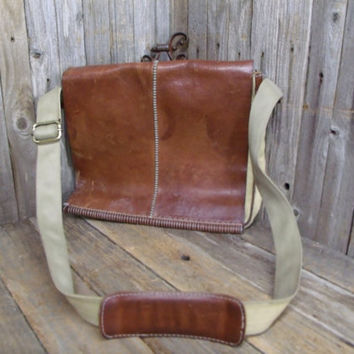 Distressed Vintage Full Leather Flap Over Canvas Messenger Briefcase Shoulder Bag Urban Hipster