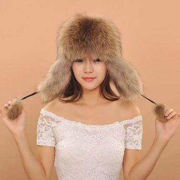 CREYCI7 2016 Women Warm Winter Fox Fur Earflaps Leather Hats For Female Fur Balls Ladies Cap