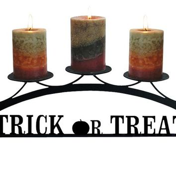 Wrought Iron Trick Or Treat Table Top Center Piece Candle Holder