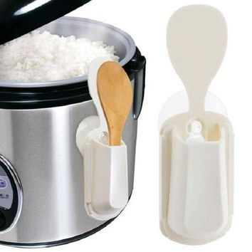 ONETOW Portable Rice Cooker Spoon Storage Pot Lid Shelf Cooking Storage Kitchen Decor Tool Rice Spoon Stand Holder Quality