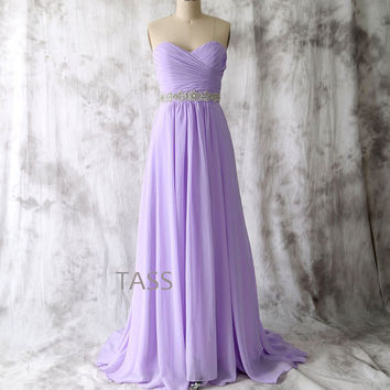 Lavender Long Bridesmaid dress, Strapless Chiffon dress with Crystal belt, Party dress, Formal Dress, Long Lilac Prom dresses