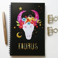 Writing journal, spiral notebook, bullet journal, black sketchbook, cute notebook, blank lined grid, zodiac sign, astrology - Taurus