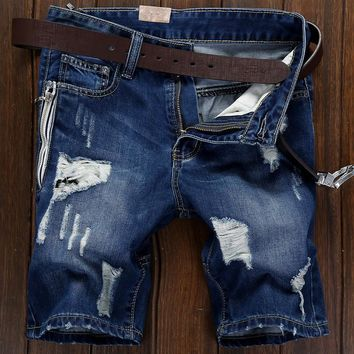 Summer Pants Ripped Holes Jeans [6541763459]