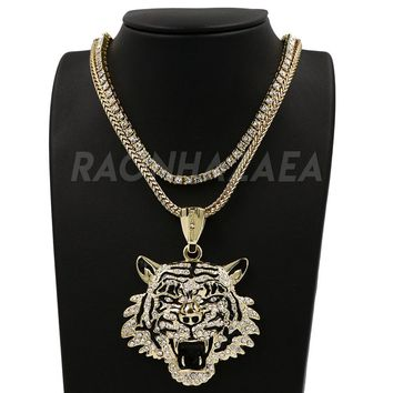 Hip Hop DRAKE TIGER FACE Pendant W/ Franco Chain / Tennis Choker Chain