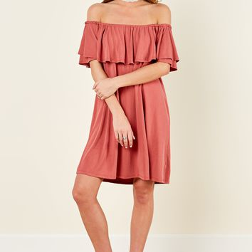 Story Great Choice Brick Red Off The Shoulder Dress