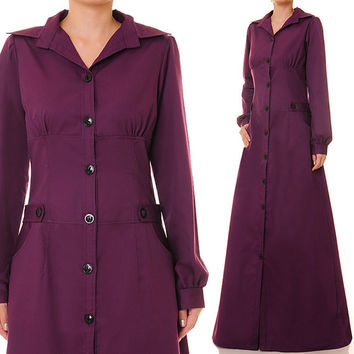 Purple Plum Cotton Button-Up Shirtdress Long Sleeved Abaya Maxi Dress - Size S  (838) FREE SHIPPING!