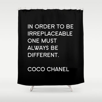 Shower Curtain - Chanel Shower Curtain - Typography Quote - Coco Chanel Quotes - Housewarming Gift - Fashion Decor - Fashion Quote