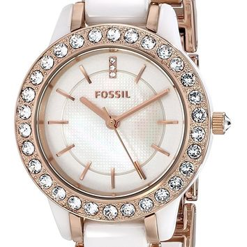Fossil Women's CE1041 Jesse White Ceramic Rose Gold Tone Watch