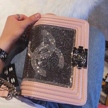 CHANEL Fashion Women Shopping Leather Metal Chain Water Drill Crossbody Shoulder Bag Satchel(2-Color) Pink I-WXZ2H
