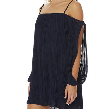 MINKPINK ISLAND HOPPER WOMENS PLEATED DRESS - DARK NAVY