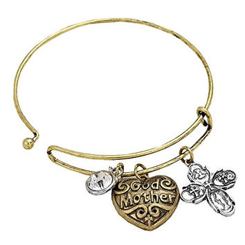 Godmother Bangle Bracelet with Heart and Cross Charms