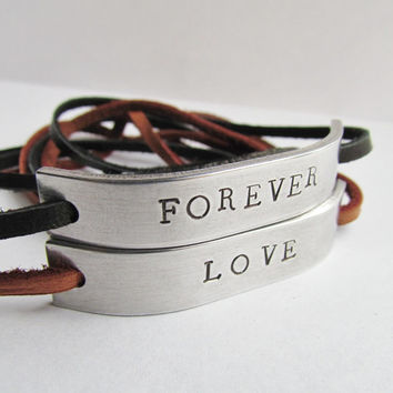 SET of 2 Wrap Bracelet Leather Deerskin Lace Cord 3 Color Choice Hand Stamped Mans Gift Men Women