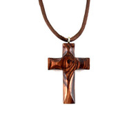 Wooden Cross Necklace, Wooden Cross Pendant, Cross Necklace, Cross Pendant, Wood Cross, Christian Jewelry, Hand Carved Cross