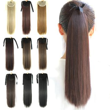 Soowee 22inch Synthetic Hair Fairy Tail Long Straight Hairpiece Drawstring Ponytail  Horse Hair Extensions Hair on Hairpins