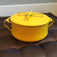 Vintage 60s Dansk Yellow Kobenstyle Stockpot Casserole Pot Enameled Dutch Oven Cookware Mid Century Modern MCM Kitchen Decor Danish French