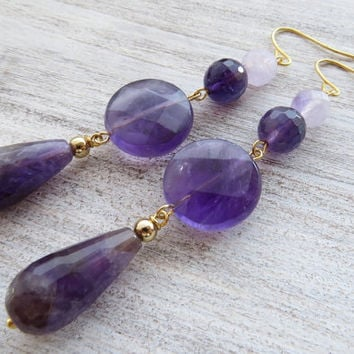 Amethyst earrings, purple gemstone earrings, drop earrings, dangle earrings, stone jewelry, modern jewelry, lavender jewelry, gioielli