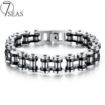 7SEAS Motocycle Men Bracelets Bangles Casual Link Chain Stainless Steel 4 Color Biker Bicycle Jewelry Bracelet For Man 7S781