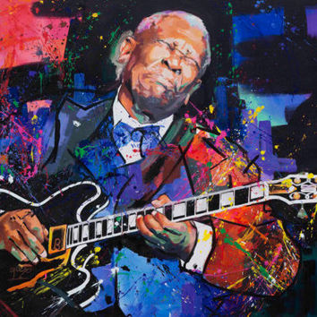 "BB King, Original Painting, 63"", Worldwide Shipping, Art, Music, Graffiti, Large, Richard Day"