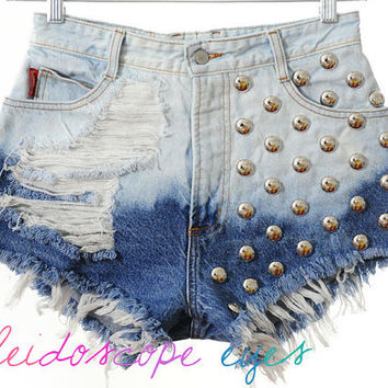 Vintage Bongo Bleached OMBRE Denim DESTROYED High Waist STUDDED Cut Off  Shorts S