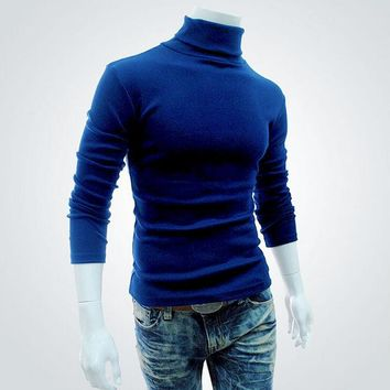 2017 Spring Autumn Mens Pullovers Sweaters Turtleneck Knitted Sweater For Men Cotton Clothing Male Sweaters Black White XXL 50