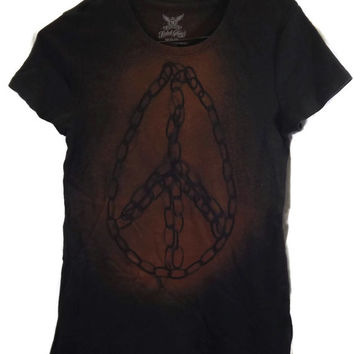 Teardrop Chain Peace Sign Tee Shirt, Scoop Neck, Acid Washed T Shirt Size M, Medium 8-10 Womens Black With Golden Effects (A110)