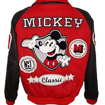 BNH Mens Michael Mickey Red Varsity Leather Jacket - New Arrival: Amazon.ca: Clothing & Accessories