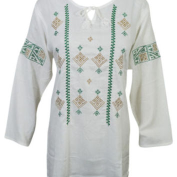 Boho Gypsy Hippy Chic Womens Tunic Top Embroidered Cotton Blend Off-White Blouse