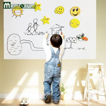 2016 New 60*200CM Wall Sticker White Board Large Size School Teaching Office Message Board Stickers Wall Stickers
