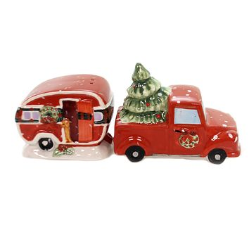 Tabletop HOME FOR CHRISTMAS SALT  PEPPER Ceramic Truck Camper 22793