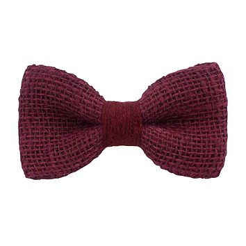 Burlap Rustic Dark Red Bow Tie