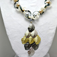 Tri-colored leaf pendant necklace. Bead and ribbon jewelry. Cream, grey and gold glass pearls. Black and ivory ribbon.  Free US shipping