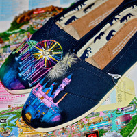 Disneyland Sleeping Beauty Castle and World of Color Themed Custom painted Disney TOMS Vans or other. Artwork Only. shoes not included