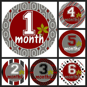 Ohio State First Year Monthly Stickers ~ Monthly Milestone ~ Monthly Circle ~ Monthly Sticker