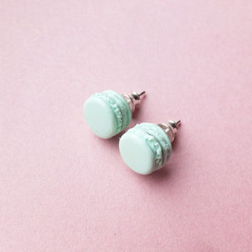 Mint macaron earrings, handmade earrings, polymer clay earrings, silver 925 findings, tiny studs, french macaron, small gift for girl