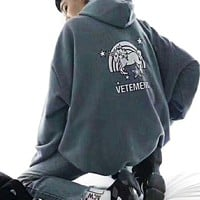 VETEMENTS Back Colt Hoodie Bust Letter Print Shirt Grey B-XS-FSYWZY