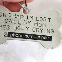 Custom Funny Pet ID Tag With Phone Number,Name, and Phrase, Call my Mom Dog Collar Tag, Personalized Bone Shaped Funny Pet Tag