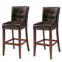 "Set Of 2 Counter Height 24"" Parsons Chairs With Brown Finish Solid Wood Legs"