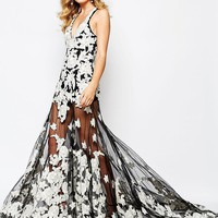 A Star Is Born | A Star Is Born Luxe Embellished Floral Applique Maxi Dress With Red Carpert Train at ASOS