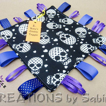Baby Crinkle Taggie, Tag Toy, Ribbon Sensory, Tag Blanket, Gender Neutral, Purple, Black, White, Skulls, Pirate, Heart, READY TO SHIP 76