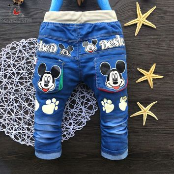 2017 New Classic Kids Mickey Kids Pants Cartoon Children's Clothing Casual Elastic Waist Infant Trousers Unisex Brand Baby Jeans