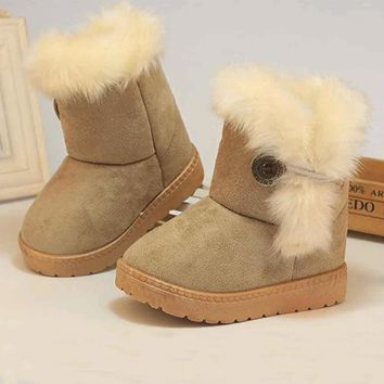 Boots girls Winter shoes Plush high tube snow boots kids shoes girl Pink Khaki boots drop ship