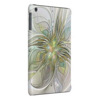 Floral Fantasy, Abstract Fractal Art Monogram iPad Mini Retina Covers