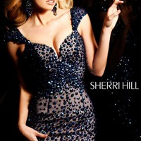 Jeweled Sheer Cocktail Dress by Sherri Hill
