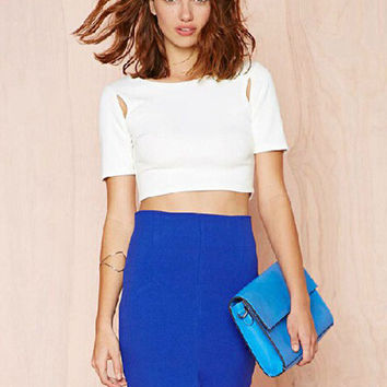 White Back Zipper Cut-Out Short Sleeve Cropped Top