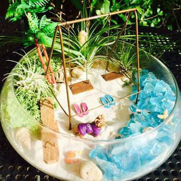 "Beach Playground Terrarium Kit ~ Swing Set and See Saw ~ 3 Air plants ~ 10"" Glass Round Bowl ~ Princess Puppy ~ Beach Decor ~ Beach ~ Gift"
